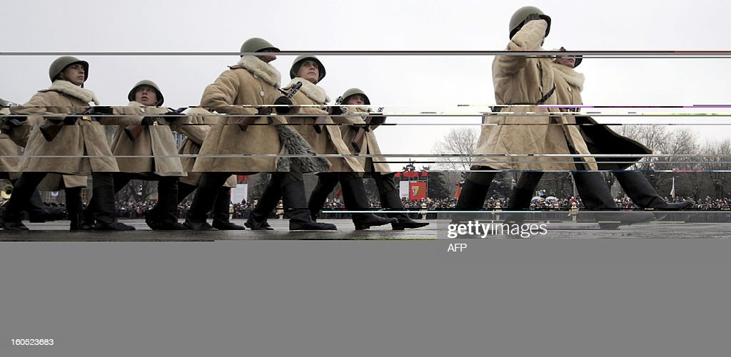 Wearing World War II-era Red Amy winter clothes Russian soldiers march during a military parade marking the 70th anniversary of the Stalingrad Battle, in the city of Volgograd, formerly Stalingrad, on February 2, 2013. Russia marked today the 70th anniversary of a brutal battle in which the Red Army defeated Nazi forces and changed the course of World War II. The pulverised city was renamed Volgograd in 1961 after Soviet leaders admitted the extent of Stalin's tyranny during his decades in power.