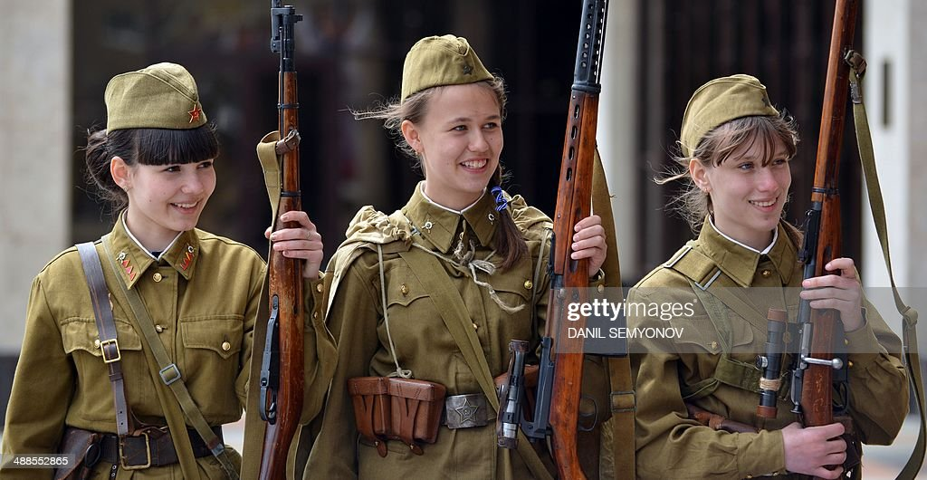 Wearing World War II-era uniform of Red Army soldiers ...
