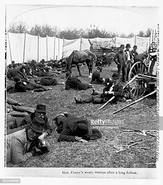 Weary followers of 'General' Jacob S Coxey rest in a temporary camp during their long journey to Washington DC Jacob S Coxey is a former quarry...