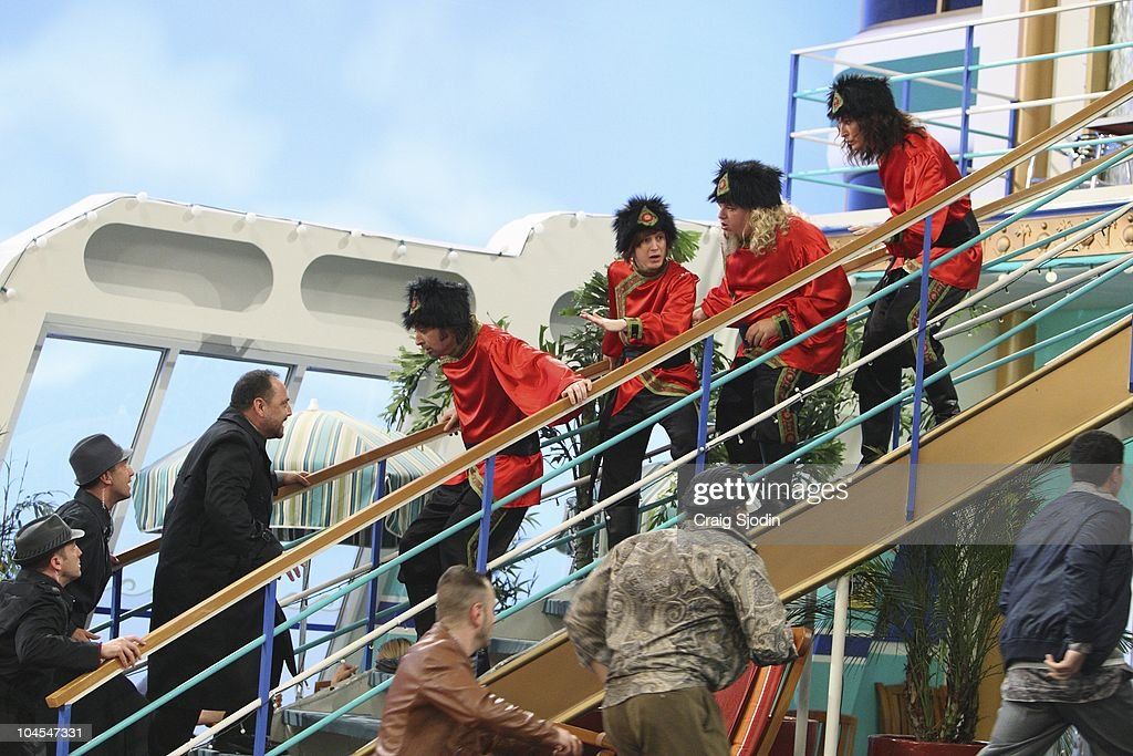 I'M IN THE BAND - 'Weasels on Deck' - Iron Weasel sets out to board the SS Tipton to perform for Mr. Tipton, in hopes of booking a gig at one of his many concert arenas. After Ash's connection to his old friend Moseby falls through, the Weasels must get creative in order to pass security and board the ship. They pose as a touring circus act, Krazy Kouriskazi Brothers, but when word gets out that the real Kouriskazis are a gang of robbers, the Weasels are on the run. With the help of their fans Zack and Cody, Iron Weasel is cleared of the crime, and are able to sneak in a special performance for Mr. Tipton. However in doing so, the guys accidentally create a diversion, and the real Kouriskazis plunder all of the passenger cabins, leading Tripp and the gang to jump ship, in a new episode of 'I'm In The Band' premiering MONDAY, OCTOBER 11 (8:00 p.m., ET/PT) on Disney XD. (Photo by Craig Sjodin/Disney XD via Getty Images) JB
