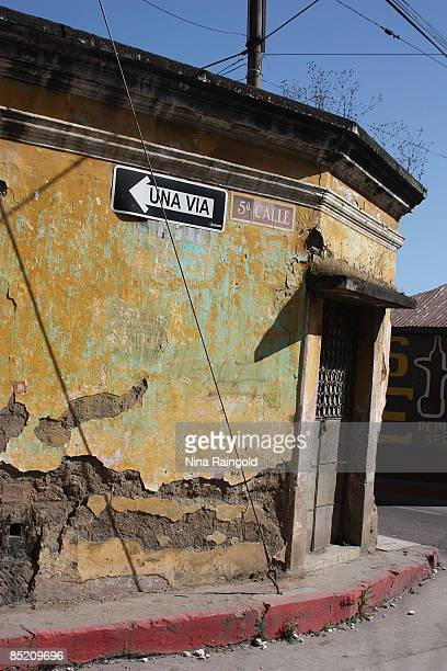 Weather beaten building on a street corner on December 12 2008 in Quetzaltenango Guatemala Quetzaltenango is Guatemalas second largest city and is...