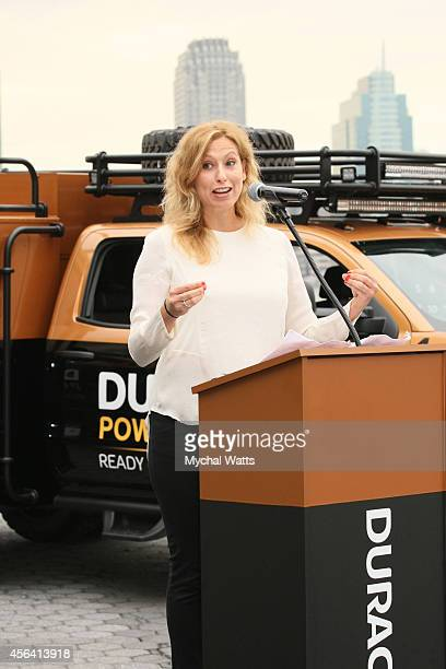 Weather Channel's Stephanie Abrams at Battery Park on September 30 2014 in New York City