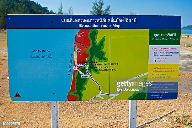 Weather Climate Tsunami evacuation route sign Thailand