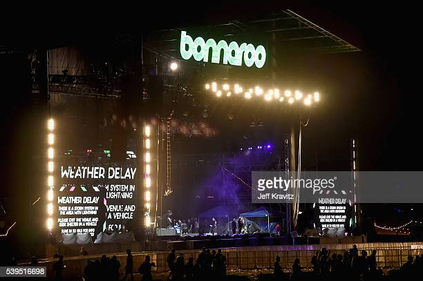 Weather delay signage seen at What Stage during Day 3 of the 2016 Bonnaroo Arts And Music Festival on June 9, 2016 in Manchester, Tennessee.