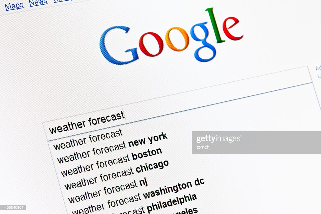 Weather forecast in google search field. : Stock Photo