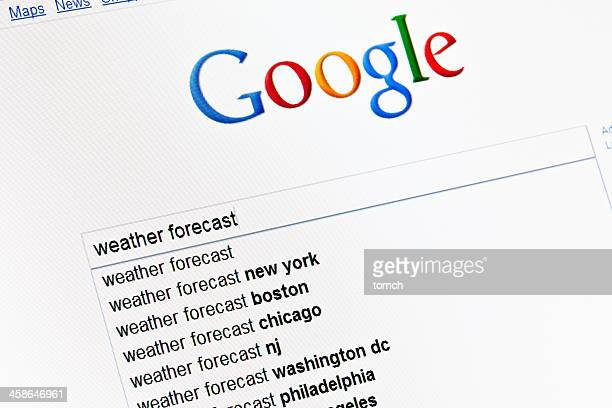 Weather forecast in google search field.
