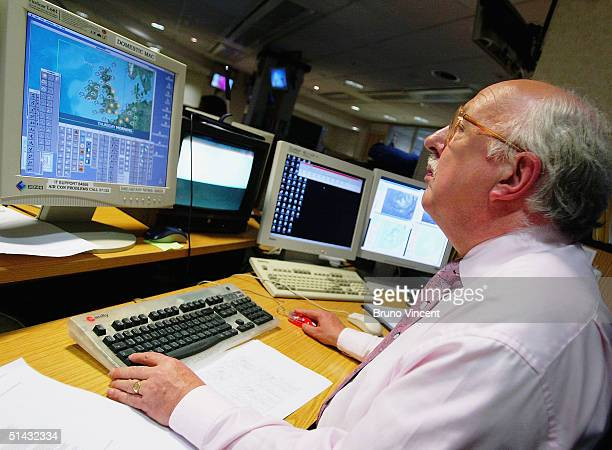 TV weather forecaster Michael Fish spends his last day at his desk before retiring after 30 years at BBC Television Centre White City on October 6...