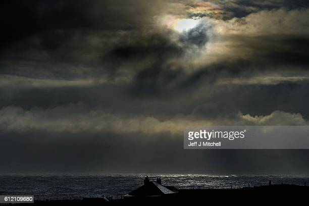 A weather front head into the Island of Foula on September 29 2016 in Foula Scotland Foula is the remotest inhabited island in Great Britain with a...