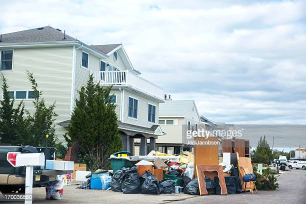 weather: hurricane damage on a new jersey street - spoil system stock pictures, royalty-free photos & images