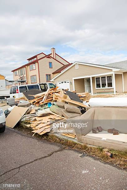 weather: hurricane damage on a new york street - spoil system stock pictures, royalty-free photos & images