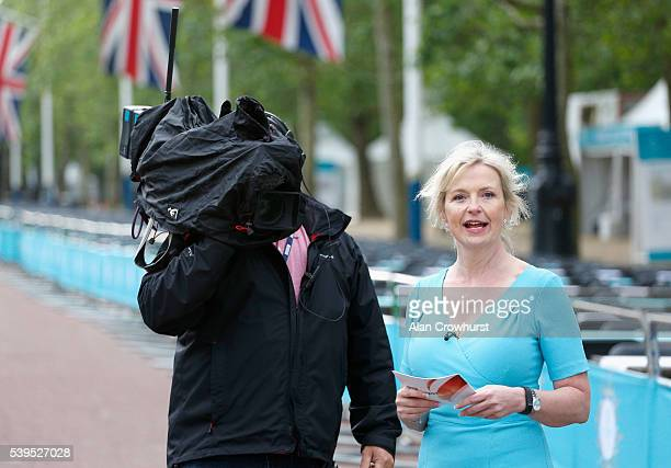 Weather presenter Carol Kirkwood is seen ahead of The Patron's Lunch celebrations for The Queen's 90th birthday at The Mall on June 12 2016 in London...