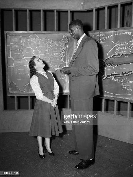 CBS weather segment Rain or Shine featuring weather girl Carol Reed and guest Walt Dukes of Seton Hall basketball team New York NY Image dated April...