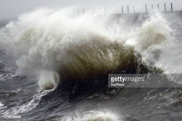 Weather, Stormy seas at the breakwater on the Headland, Hartlepool, County Durham on Tuesday 13th October 2020.
