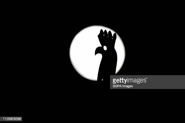A weather vane seen silhouetted against the brightest moon of 2019 also called the snow moon as it rises over the city of Madrid Spain