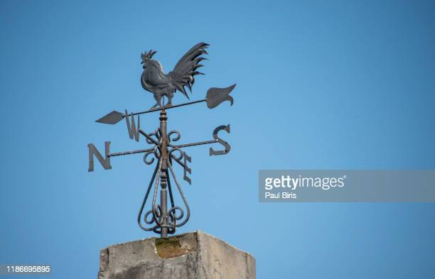weather vane to indicate wind direction, mokra gora in western serbia - west direction stock pictures, royalty-free photos & images
