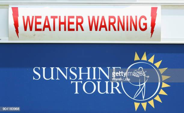 A weather warning sign is displayed during day two of the BMW South African Open Championship at Glendower Golf Club on January 12 2018 in...