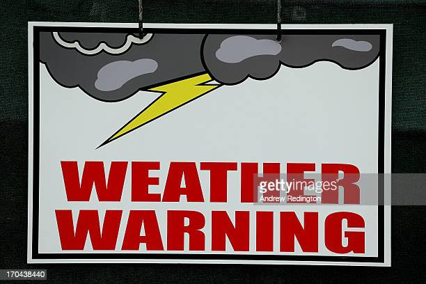 Weather warning sign is seen during Round One of the 113th U.S. Open at Merion Golf Club on June 13, 2013 in Ardmore, Pennsylvania.
