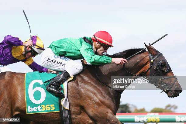 Weather With You ridden by Mark Zahra wins the Roderick Insurance Brokers 3YO Geelong Classic during Melbourne Racing at Geelong Racecourse on...