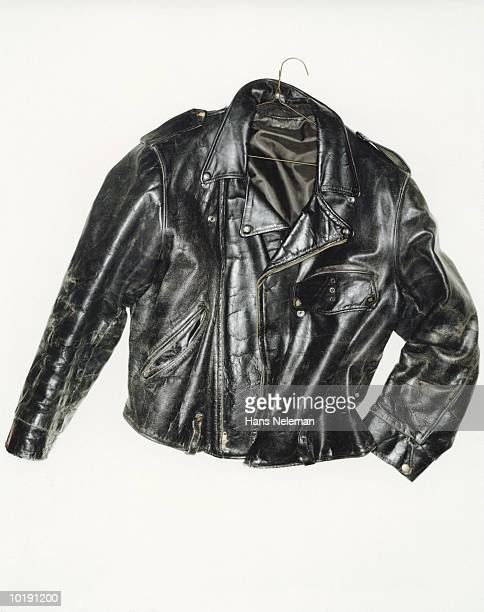 Weatherbeaten black leather jacket