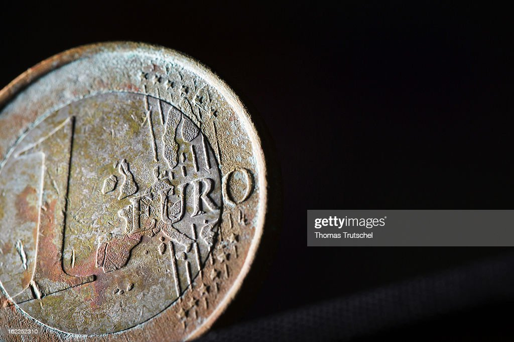 A weathered 1 Euro coin pictured on July 19, 2012 in Berlin, Germany.