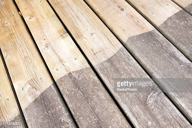 Weathered and Pressure Washed Deck Board Comparison