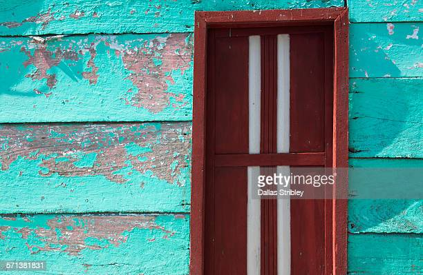 Weathered architectural detail with door