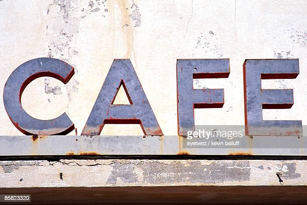 Weathered cafe sign