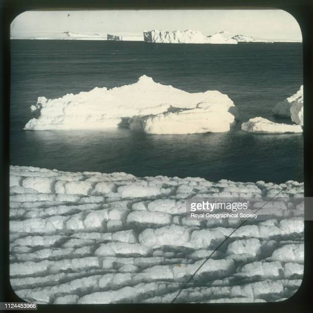 Weathered ice at Cape Evans Antarctica British Antarctic Expedition 19101913 Artist Herbert Ponting