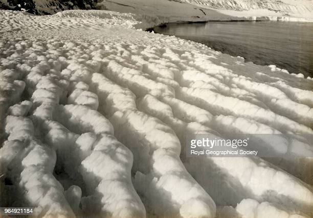 Weathered ice furrows after a blizzard at Cape Evans Antarctica 8th March 1911 British Antarctic Expedition 19101913
