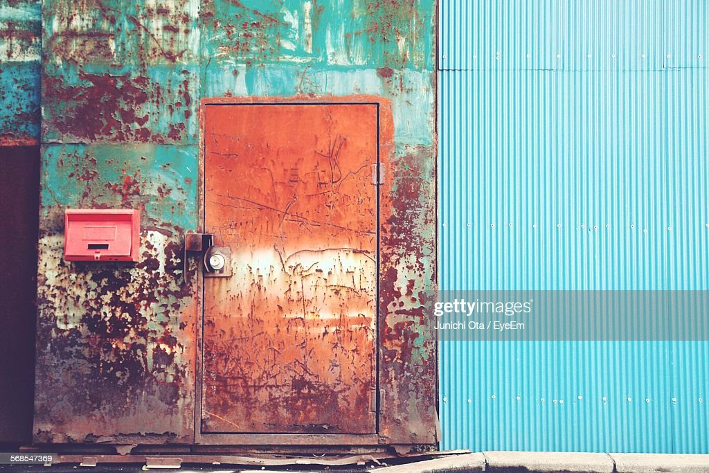 Weathered Metallic Door Of Old Industry : Stock Photo