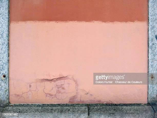 weathered painting on a wall with cracks and stone frame - paris france stock pictures, royalty-free photos & images