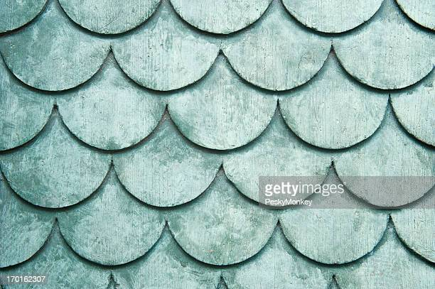 Weathered Pale Green Rounded Shingles Background