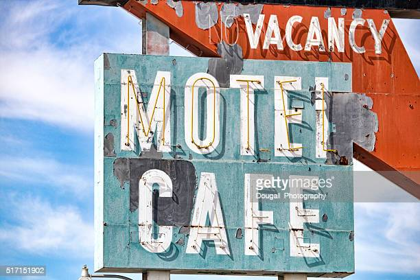 Weathered Roy's Cafe and Motel Neon Sign on Route 66