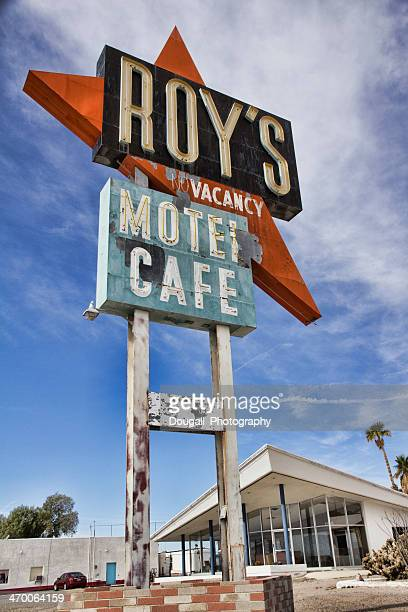 weathered sign and motel office at amboy on route 66 - amboy california stock photos and pictures