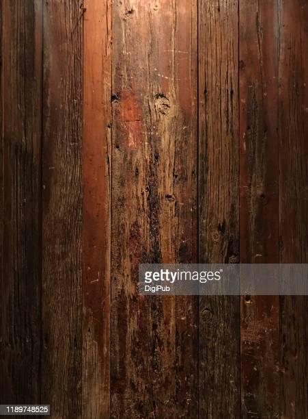 weathered wood wall illuminated in the night - wood material 個照片及圖片檔