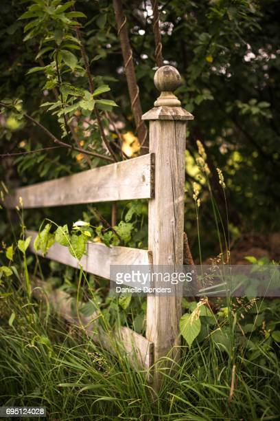 Weathered wooden old fence ends in a post