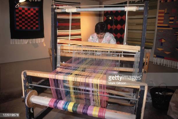 Weaver at loom, Taos, NM