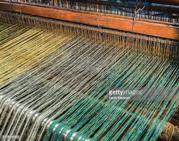 Weaver's loom set up for weaving tweed