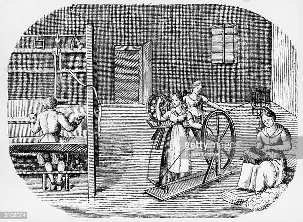 Weaving and spinning an illustration from the book 'Orbis Pictus' by Johannes Amos Comenius Published in 1657 it is considered the first children's...