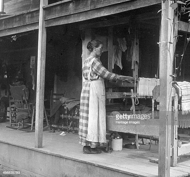 Weaving Appalachia USA c1917 Photograph taken during Cecil Sharp's folk music collecting expedition British musician Sharp and his assistant Dr Maud...