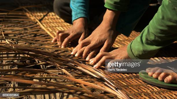weaving - croiser les doigts stock photos and pictures