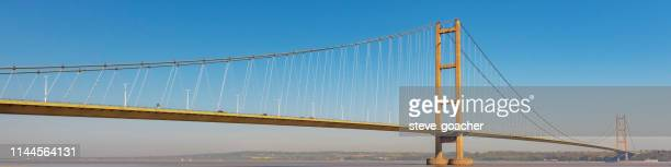 Web banner style image of the Humber Bridge that joins Hessle in Yorkshire to Barton in Lincolnshire.