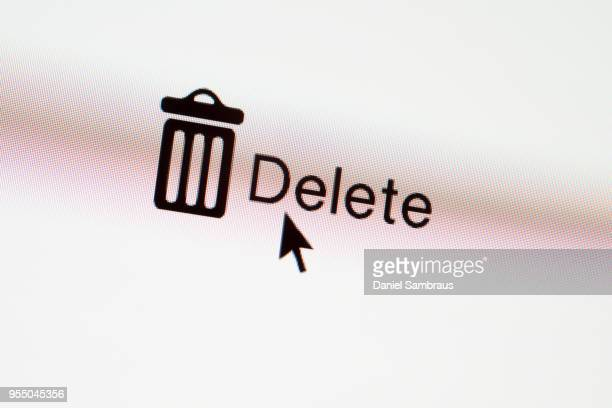 DELETE web button and mouse arrow on computer screen