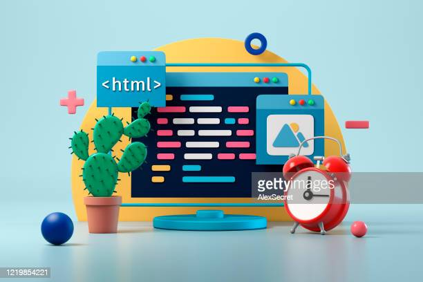 web design development and coding concept - three dimensional stock pictures, royalty-free photos & images