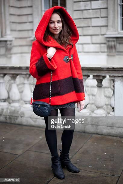 Web designer Jordana Terk wearing Jacket Hudson spray Vintage bag Acne shoes Dress t by Alexander wang street style at London fashion week...