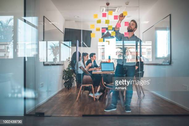 Web designer sticking adhesive note on glass wall