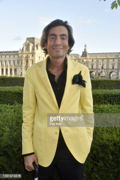 Web journalist Simon Collin from Les Clochards Celestes attends Valentin Cavaillé de Nogaret Birthday Party at Jardin du Carrousel on June 16 2020 in...