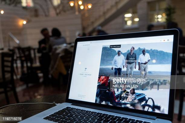 Web pages from the official website of Britain's Prince Harry, Duke of Sussex and his wife Meghan, Duchess of Sussex, www.SussexRoyal.com are...