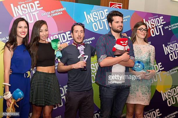 Web Talent Coaches Show Lodovica Comello Tess Masazza Dexter Frank Matano and Diana Del Bufalo pose during a photocall before the press conference...