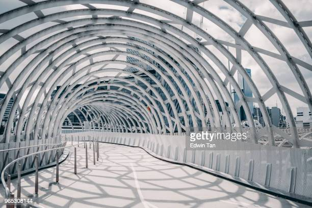 webb bridge , melbourne , australia with shadow cast on the ground - melbourne australia foto e immagini stock